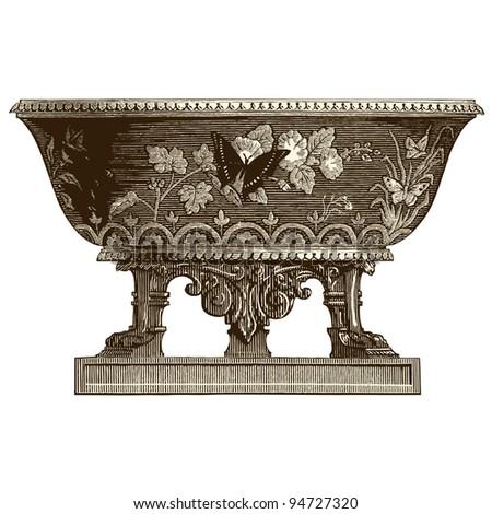 "Sevres vase ceramic - vintage engraved illustration - ""La mosaique "" edited by A.Bourdilliat  1875 - Paris - stock vector"