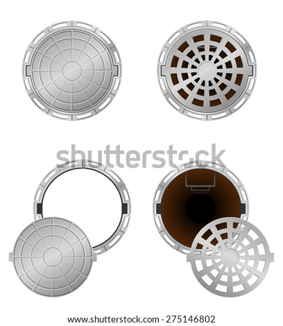 sewer pit with a hatch vector illustration isolated on white background - stock vector
