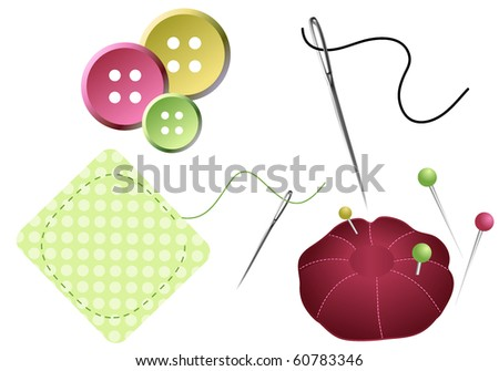 Sewing accessories, needles, pins, buttons and pin cushion - stock vector