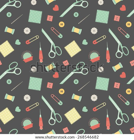 sewing accessories pattern - stock vector