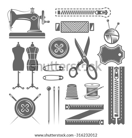 Sewing accessories, sewing supplies, tailor shop set of vector monochrome design elements isolated on white background - stock vector