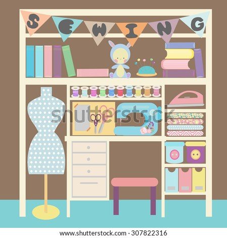 Sewing and creative craft room. Sewing space: sewing machine, mannequin, pile of folded textile and peg board. Home office workspace. Vector ilustration. - stock vector