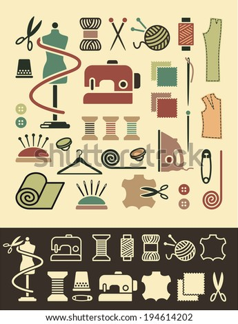 Sewing and needlework icons - stock vector