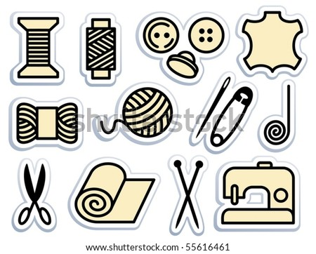Sewing and needlework icons on stickers - stock vector