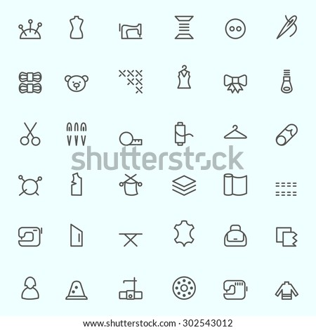 Sewing and needlework icons, simple and thin line design - stock vector