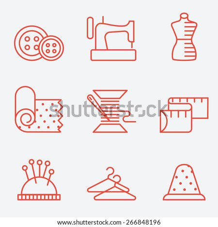 Sewing and needlework icons, thin line style, flat design - stock vector