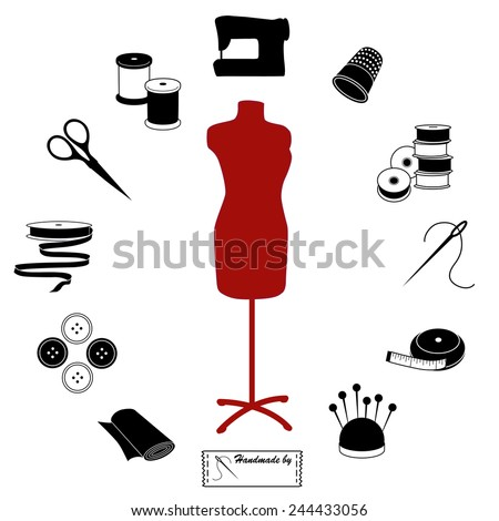 Sewing and Tailoring Icons. Fashion model with tools and supplies for do it yourself sewing, tailoring, dressmaking, needlework and crafts, black and white circle design. EPS8 compatible. - stock vector