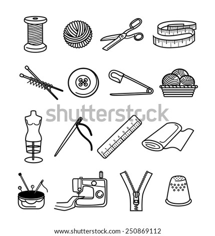 Sewing black icon set - stock vector