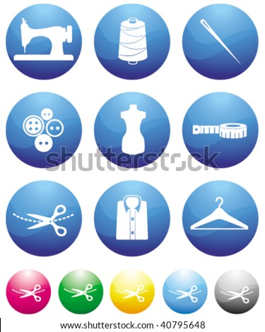 sewing blue button icons - stock vector