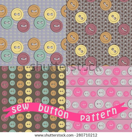 sewing button pattern - stock vector