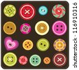 sewing buttons - stock vector