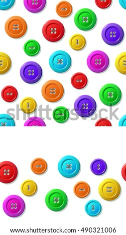 Sewing buttons seamless patterns on white background