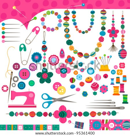 sewing craft set - stock vector