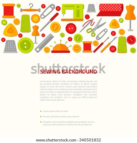 Sewing design creative concept banner. Vector illustration. Fashion atelier tailor studio background. Flat sewing icon tools. Hand made. Creative workspace. Place for your text.  - stock vector