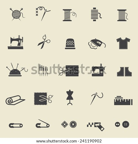 Sewing equipment and needlework. Black icons for sewing, knitting, needlework, pattern. Small device. Vector illustration - stock vector
