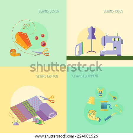 Sewing equipment design tools fashion flat set isolated vector illustration - stock vector