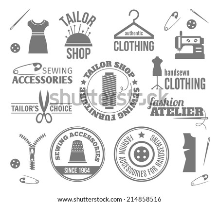 Sewing equipment fashion tailor accessories black labels set isolated vector illustration - stock vector