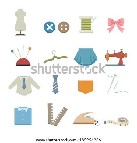 Sewing equipment icons - stock vector