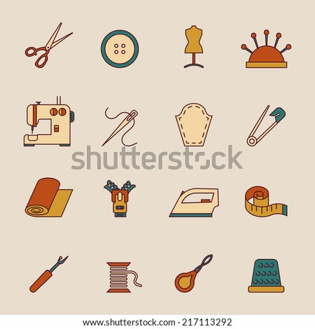 Sewing equipment icons set with button dress form machine isolated vector illustration - stock vector