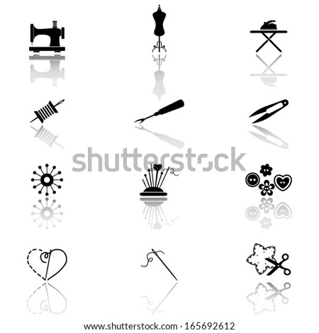Sewing icons - stock vector
