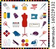 Sewing Icons, multicolor, for tailoring, dressmaking, needlework, do it yourself crafts: model, needle, thread, ribbon, scissors, machine, pins, iron, cloth, label, thimble, button, check frame. EPS8. - stock vector