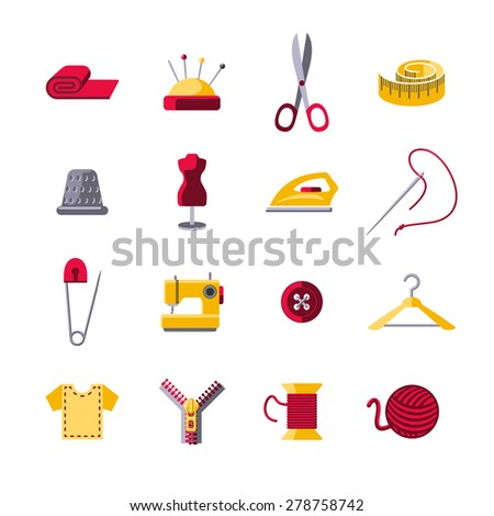 Sewing icons set with hanger shears pin cushion isolated vector illustration - stock vector