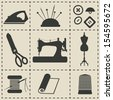 sewing icons - vector illustration - stock vector