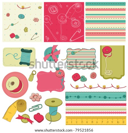 Sewing kit - design elements for scrapbooking - stock vector