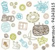 Sewing Kit Doodles - hand drawn design elements in vector - stock photo