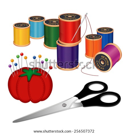 Sewing kit with silver needle, spools of thread, scissors, pincushion, pins, isolated on white background for DIY sewing, tailoring, quilting, crafts, embroidery, needlework, EPS8 compatible. - stock vector