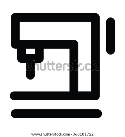 Sewing Machine Bold Line Vector Icon