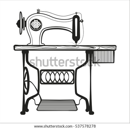 Sewing Machine In Black Lines Illustration