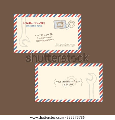Sewing machine repair business card vector stock vector royalty business card vector template styled as a vintage envelope with postage reheart Gallery