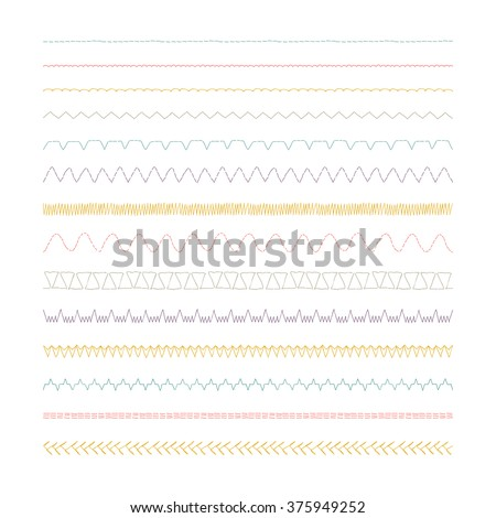 Sewing machine stitches, Set of 14 variations - stock vector