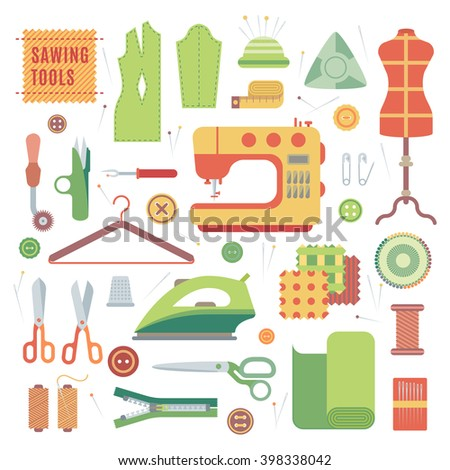 Sewing machines fabric textile and sewing machines craft industry. Needlework vintage sewing textile. Set of accessories for sewing machines and handmade with dressmaking accessories textile vector. - stock vector