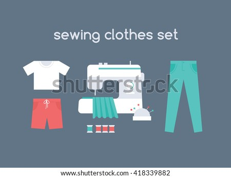 Sewing men's clothes vector set: red shorts, white t-shirt and green pants. Sewing machine in atelier with cloth, colorful threads and pins in needle bar. Flat icons of apparel. - stock vector