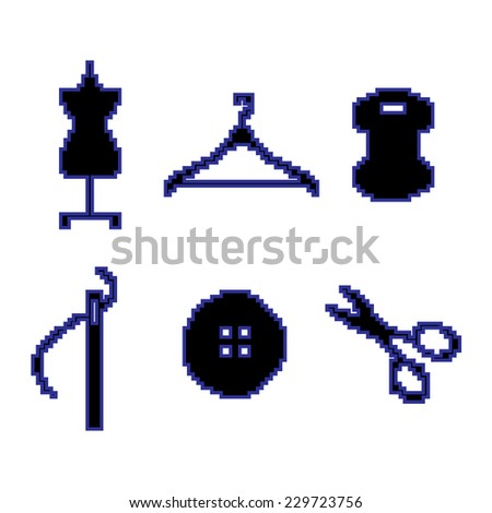 Sewing Pixel icons - stock vector
