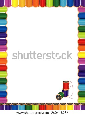 Sewing Poster Letterhead Frame, spools of multicolor fashion thread, embroidery needle for sewing, tailoring, quilting, crafts, needlework, do it yourself projects, isolated on white, EPS8 compatible. - stock vector