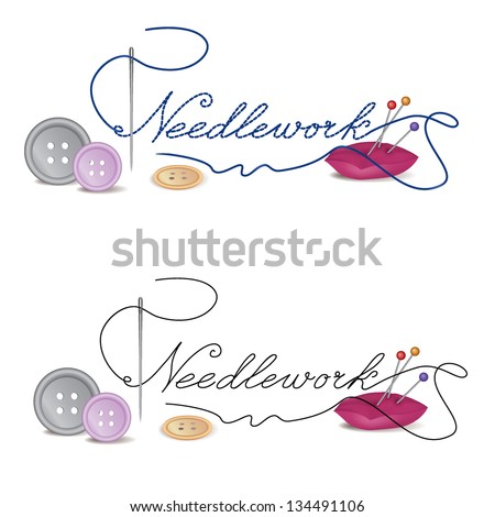 Sewing related elements. Sewing accessories an buttons on white background. Vector illustration. - stock vector
