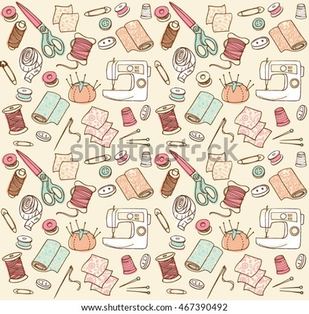 Sewing seamless doodle vector pattern