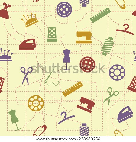 Sewing seamless pattern - stock vector