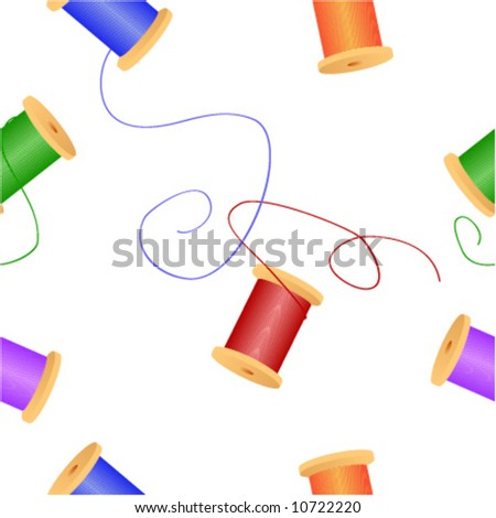 Sewing series. Scattered colorful spools of thread. Seamless vector in any direction. - stock vector