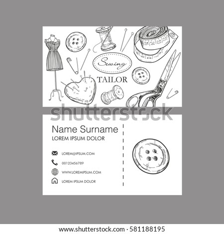Sewing tailor concept business card vector stock vector 581188195 sewing tailor concept business card vector template colourmoves