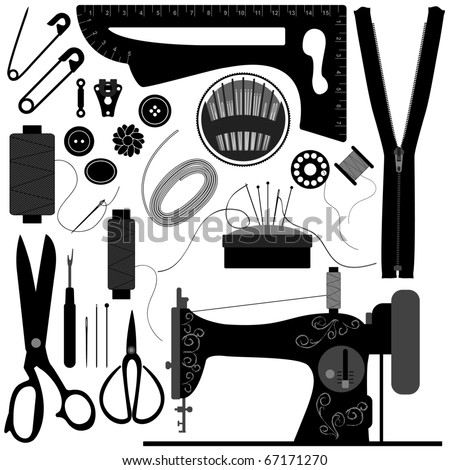 Sewing Tailor Retro Black - stock vector
