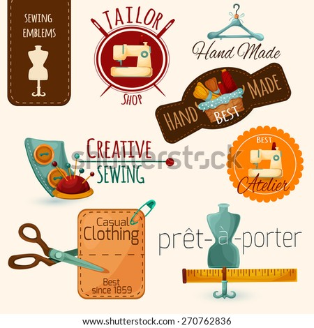 Sewing tailoring and fashion dressmaking emblems set isolated vector illustration - stock vector