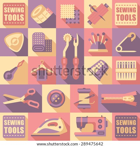 Sewing tailoring and needlework decorative icons set isolated vector illustration - stock vector