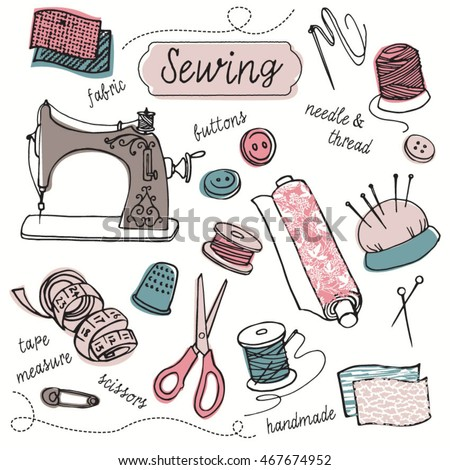 Sewing, tailoring, needlework Icons - hand drawn design vector elements