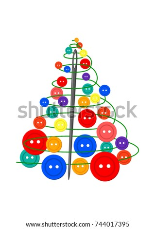 Sewing Theme Creative Design Christmas Tree Made Of Needle Thread And Buttons