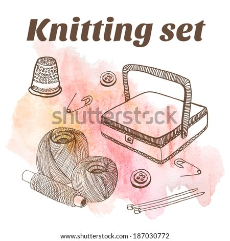 Sewing things watercolor background sketch set  - stock vector