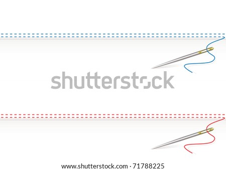 Sewing thread border on white material background and needle - stock vector